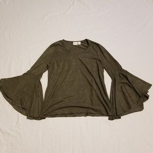 Chico's Size Small Bell Sleeve Suede Shirt